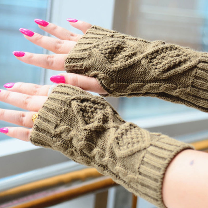 1 Pair Autumn Winter Unisex Rhombic Knitted Fingerless Gloves Fashion Arm Warmer Mitten Solid Color Mittens High Quality