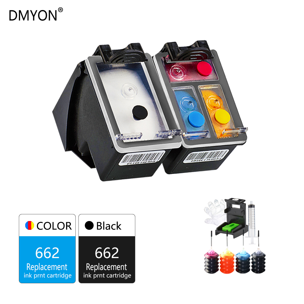 DMYON 662XL Refillable Ink Cartridge Replacement for HP 662 XL for Deskjet 1015 1515 2515 2545