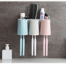 цена на Toothbrush Toiletries Toothpaste Holder Rack Toothbrush Holder With Cup Punch free Wall Mount Storage Rack Bathroom accessories