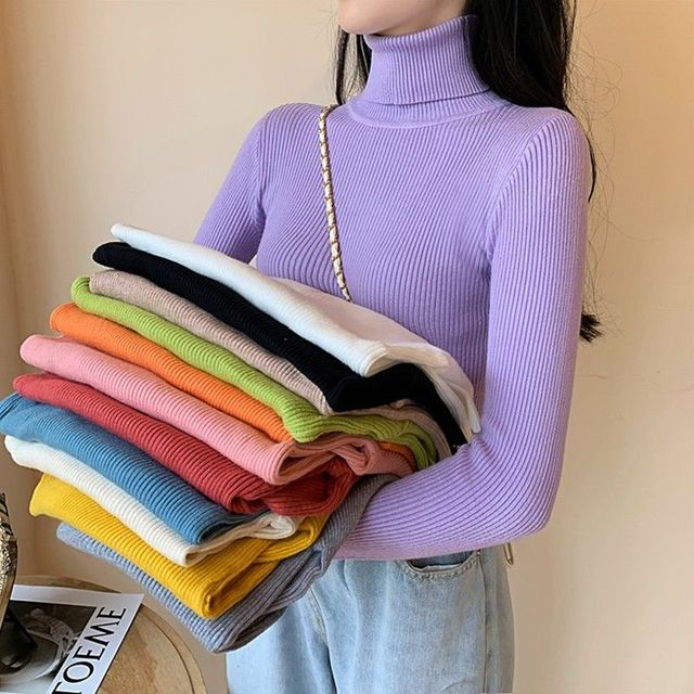 Women's Sweaters Autumn Winter Turtleneck Long Sleeve Casual Knitted Jumper Fashion Slim Elasticity Pullover Sweater Female 2021