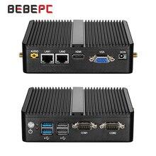 BEBEPC 미니 PC 셀러론 J4105 J1900 쿼드 코어 듀얼 LAN 팬리스 데스크탑 컴퓨터 셀러론 N2830 J1800 Windows 10 WIFI HDMI minipc