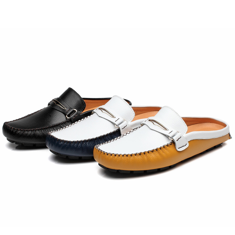 Designer Slipon Men Casual Driving Shoes Brand 2020 Handmade Leather Slipper Backless Loafers Slipper Summer Half Shoes For Men