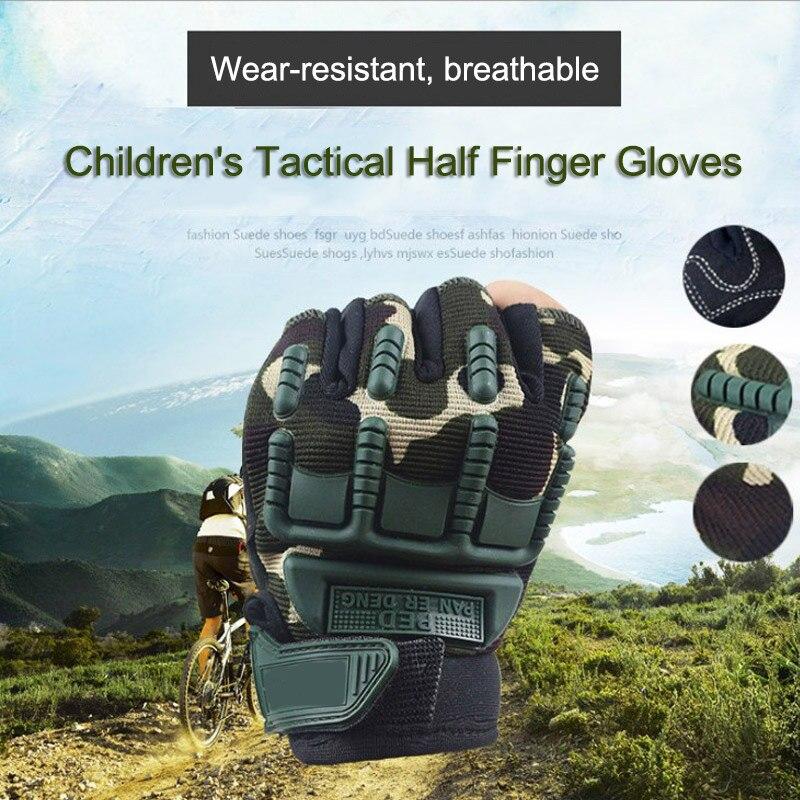 Cycling Fingerless Gloves Kids Half Finger Military Shooting Mittens Bike Child