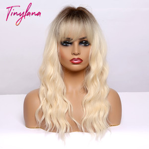 Image 2 - TINY LANA Medium Length Ombre Blonde Golden Synthetic Wigs Natural Hair  with Bangs Wavy Heat Resistant Fibre Cosplay Women wigs