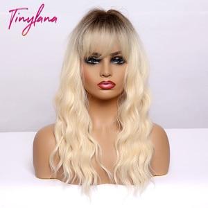 Image 2 - TINY LANA MediumความยาวOmbreสีบลอนด์Golden Synthetic Wigsธรรมชาติผมบางหยักความร้อนทนคอสเพลย์ผู้หญิงWigs