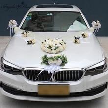 1 סט מלאכותי פרח חתונת רכב דקור ערכת רומנטי משי מזויף עלה אדמונית פרחי חג האהבה מתנות מסיבת פסטיבל ספקי