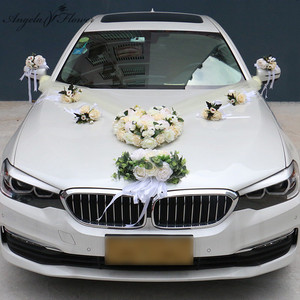 Image 1 - 1セット造花結婚式の車の装飾キットロマンチックなシルク偽ローズ牡丹の花バレンタインデーのギフトパーティー祭用品