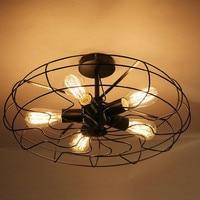 Vintage 5Heads Iron Pendant Light Retro Industrial Fan Lights Ceiling American Country Kitchen Loft Lamp E27 Bulbs
