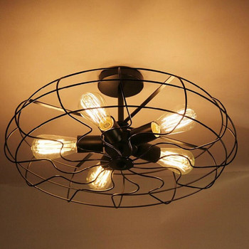 Vintage 5Heads Iron Pendant Light Retro Industrial Fan Lights Ceiling American Country Kitchen Loft Lamp E27 Bulbs