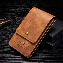 """5.5"""" 6.5 Leather Phone Bag Cover Hook Loop Belt Clip Case for Samsung Note 8 9 10 Wallet Bag for iPhone 11 Pro MAX XS XR 8 7 6"""