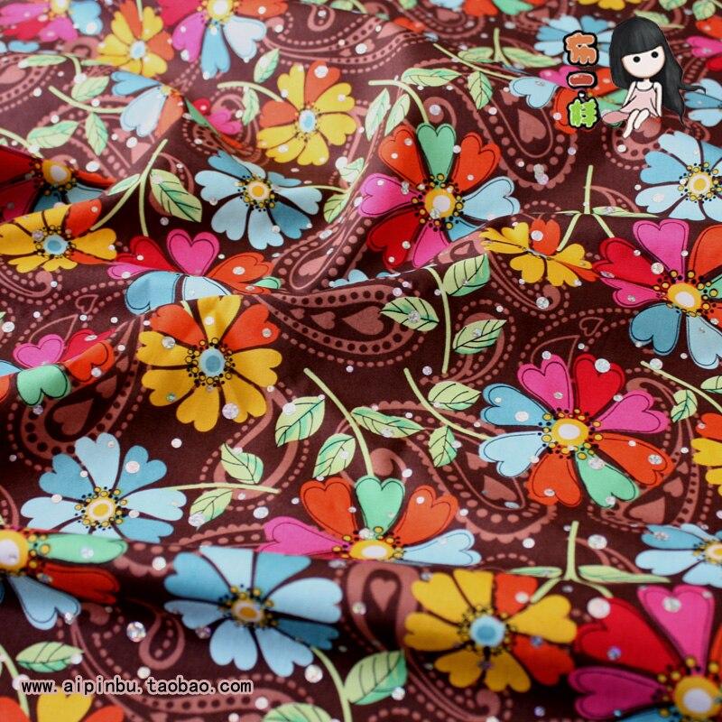 2019 tissu africain expédition [comme un pavillon de couette] rare coton mince vêtements bricolage manuel plaine café couleur fleurs tissus