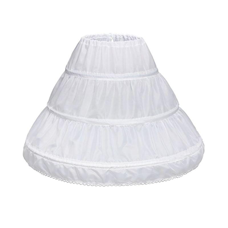 Children Princess Skirt Petticoat Girls Wedding Dress With Hoop Skirts Accessories Drawstring Adjustable Waist Lining E15E