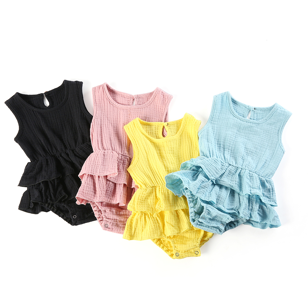 Baby Rompers Cotton Soft Plain Newborn Girls Sleeveless Jumpsuits With Ruffle Children Clothes  0-12m