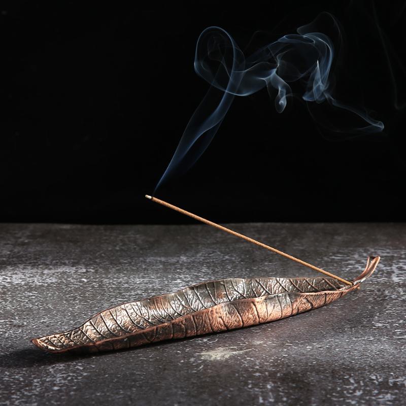 Gold Leaf Backflow Leaf Incense Holder Vintage Buddha Stick Incense Holder Incense Burners For Buddhist Temple Home Ornaments