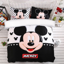 Mickey Bedding Set Disney Mouse Cute Duvet Cover Pillowcases Twin Full Queen King Size Kids bedlinen 3PCS home Textiles