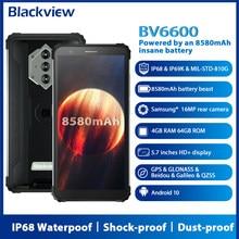 Blackview bv6600 android 10 smartphone áspero ip68 à prova dip68 água 8580mah octa núcleo 4gb + 64gb 5.7