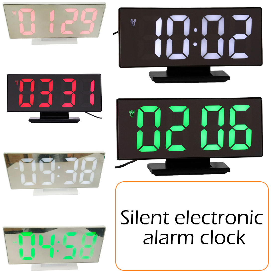 1pcs Multifunction Large Digital LCD Alarm Clock Snooze Display Time Night Led Table Desk for Home Office Alarm Mirror Clock