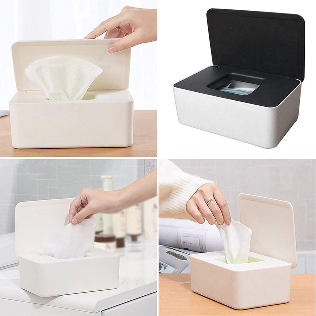 Creative Wet Wipes Dispenser Holder Tissue Storage Box Case With Lid For Home Office Desktop Sealed Wipes Storage Box With Cover