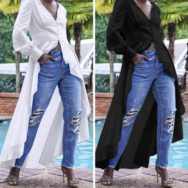 ZANZEA 2020 Women Cotton Linen Tops Blouses Office Lady Work White Shirt Fashion Irregular Buttons Down Long Tops Tunic Blusas 7