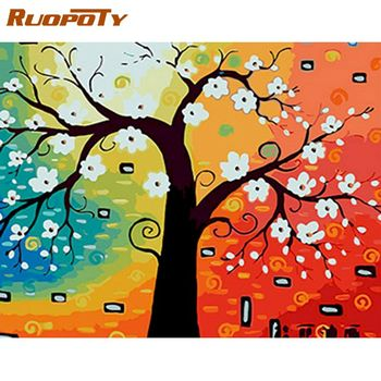 RUOPOTY 40x50cm Oil Painting By Numbers Kits White Flower Tree Landscape Paint By Number DIY Framed On Canvas Home Artcraft