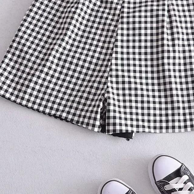 Women 2021 Summer Plaid Shorts Pleated Sashes Bow Tie ZA Fashion Female Street Sweet Shorts Bottons Clothing 5