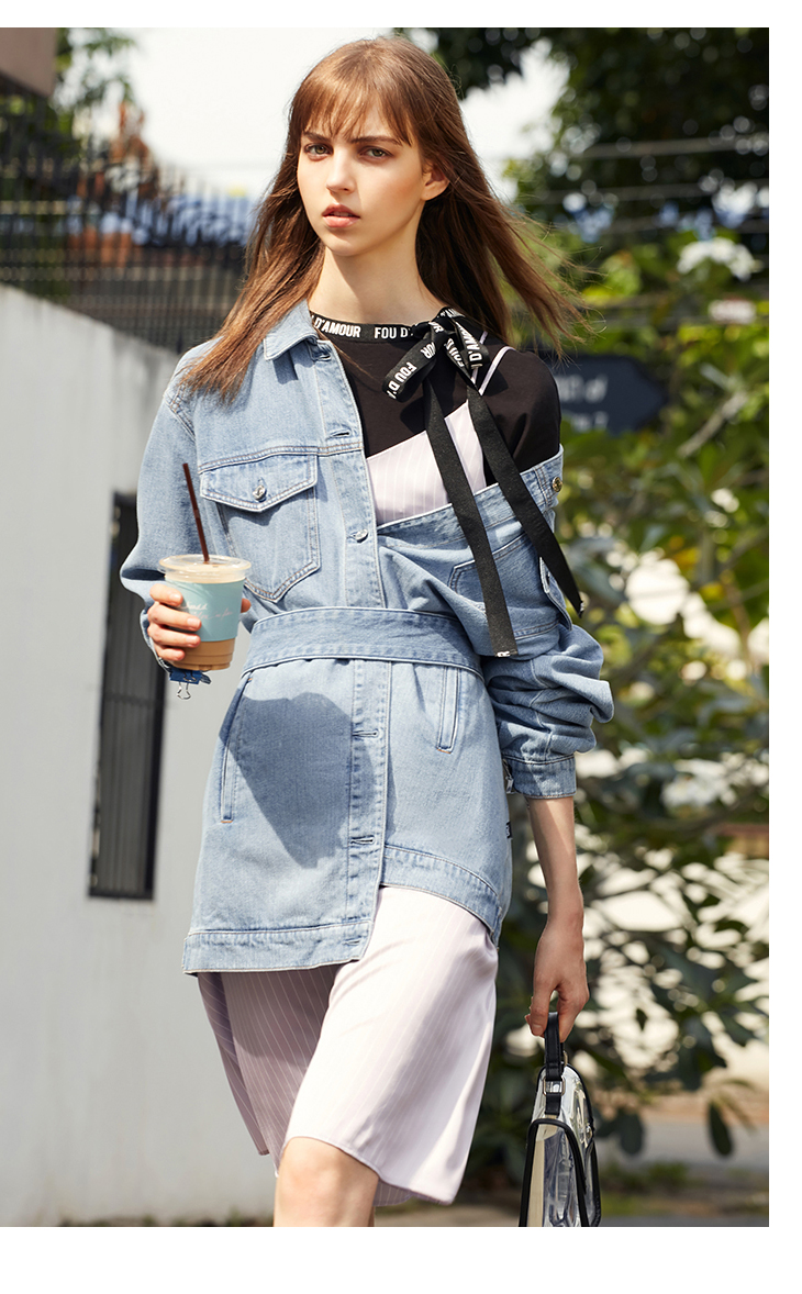 ONLY 19 Women's Loose Fit tie-up Casual Denim Jacket |119154529 9