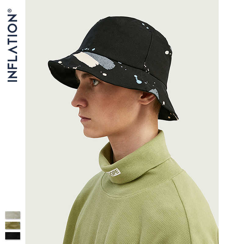 INFLATION 2019 Summer Outdoor Travel Cap Men And Women Sun Hat Cotton Splash Ink Retro Bucket Cap Fisherman Hat 138CI2019