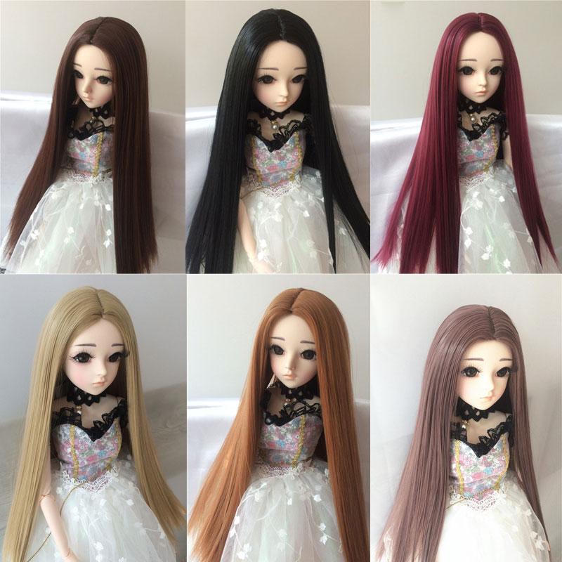 BJD Sd Long Straight Hair 1/3 1/4 1/6 1/8 High Temperature Fiber Hair Black Doll Wig Multi-color Doll Accessories