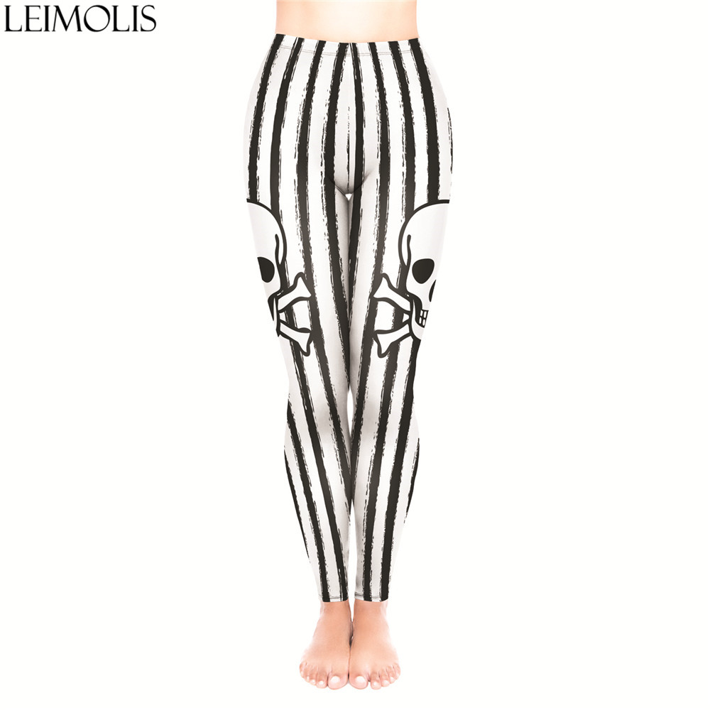 LEIMOLIS 3D Print Gothic Striped Skull White Fitness Push Up Workout Leggings Women Plus Size High Waist Punk Rock Sexy Leggins