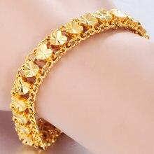Pulsera auténtica de Color dorado de 24k para mujer, cadena de 18 Cm-19 Cm, accesorios de joyería delicada, pulsera femenina