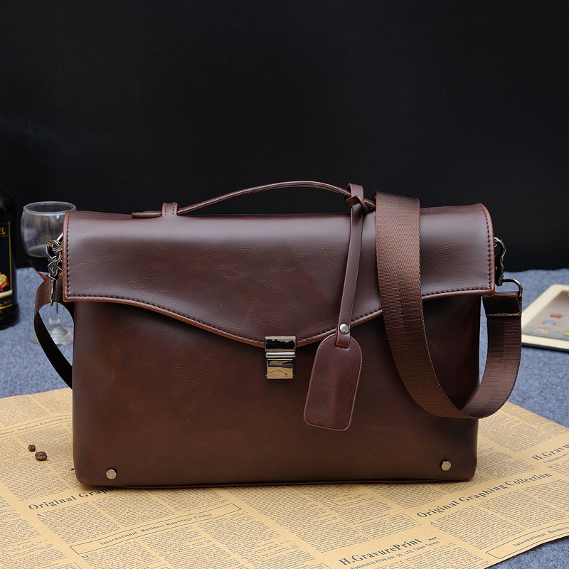 New Casual Men's Bag Fashion Lock Shoulder Bag Popular Trend Cross Body Section Briefcase
