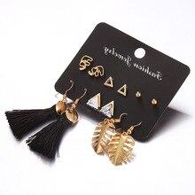gold leaf Tassel earring set  black Long Earrings for women Stud Dangle Earring Fashion Jewelry