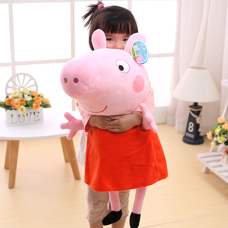 Big Size 80cm Peppa Pig George Family Plush Toys Stuffed Dolls Party Peppa Pig Ornament Girls Boys Christmas Gifts Birthday