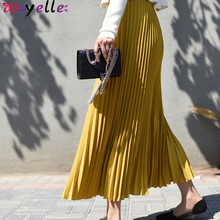 Pleated Skirt Women 2019 Casual Chiffon Maxi Skirt Autumn Winter Pleated Multi Colors Fashion Flared High Waist Lady Long Skirt box pleated chiffon skirt