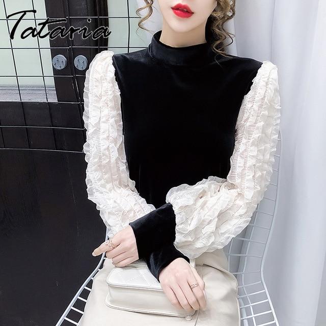 Women Tops And Blouses With Lace Vintage Women Golden Velvet Lantern Long Sleeve Shirt Elegant streetwear Fashion tops spring 2