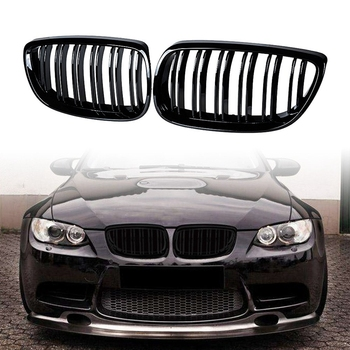 Double Line Front Bumper Kidney Grille with Fender Vent Side Marker Reflectors and Side Marker Lamps Compatible for BMW E92 E93
