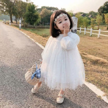 Flower dress spring girl fairy dress girl fashion Sequin mesh Princess Dress Party sweet picture dress bubble sleeve dress dress dress gaudi dress