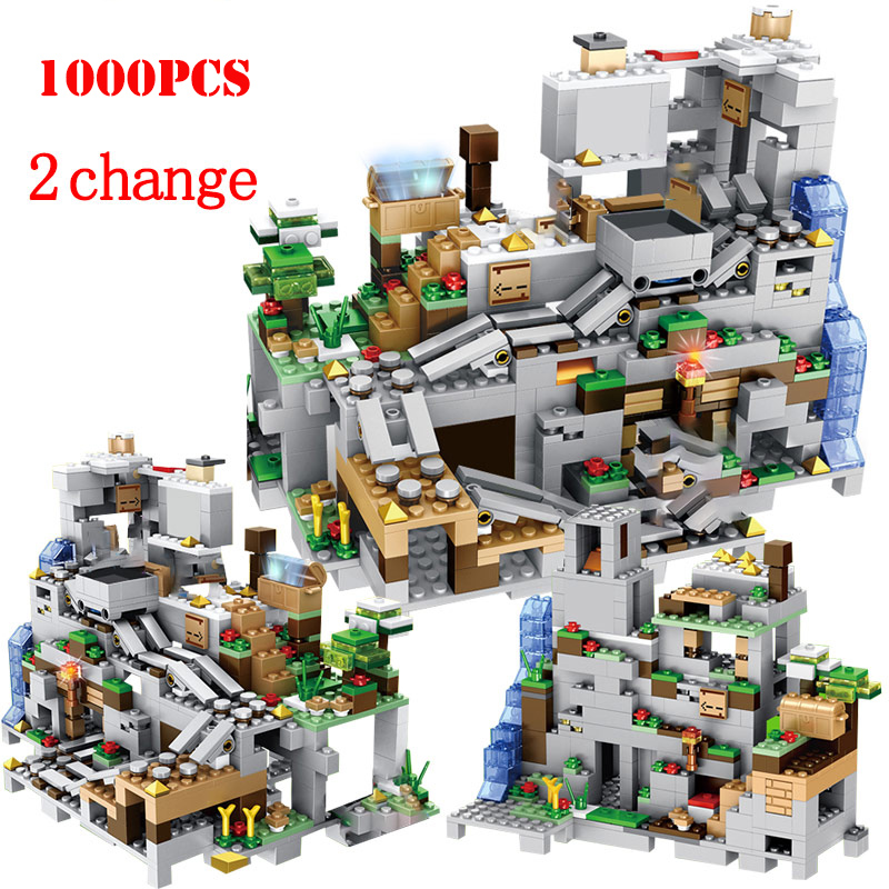 <font><b>1000</b></font>+<font><b>pcs</b></font> My World Mountain Cave Building Blocks Toys Compatible City my World Building Blocks Bricks Toys For Children image