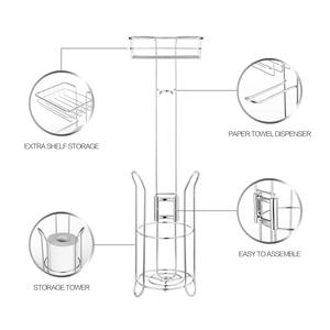 Image 5 - Edelstahl Wc Papier Rolle Stand Halter Bad Papier Halter mit Lagerung Regal für Zelle, Handy Freistehende