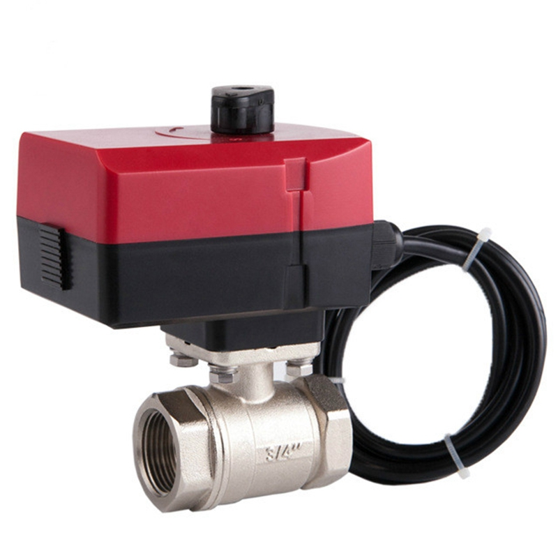 Mini Two-Way Electric Ball Valve L-Type AC220V Three-Wire Two-Control Hand-Integrated Electric Valve