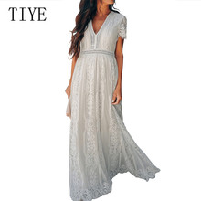 TIYE New V-neck Stitching Lace Dress Summer Retro Temperament Hook Flower Embroidery Eyelash Women Elegant Maxi