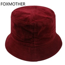 FOXMOTHER New Autumn Winter Black White Camel Solid Color Velvet Bucket Hats Women Mens Buckethat