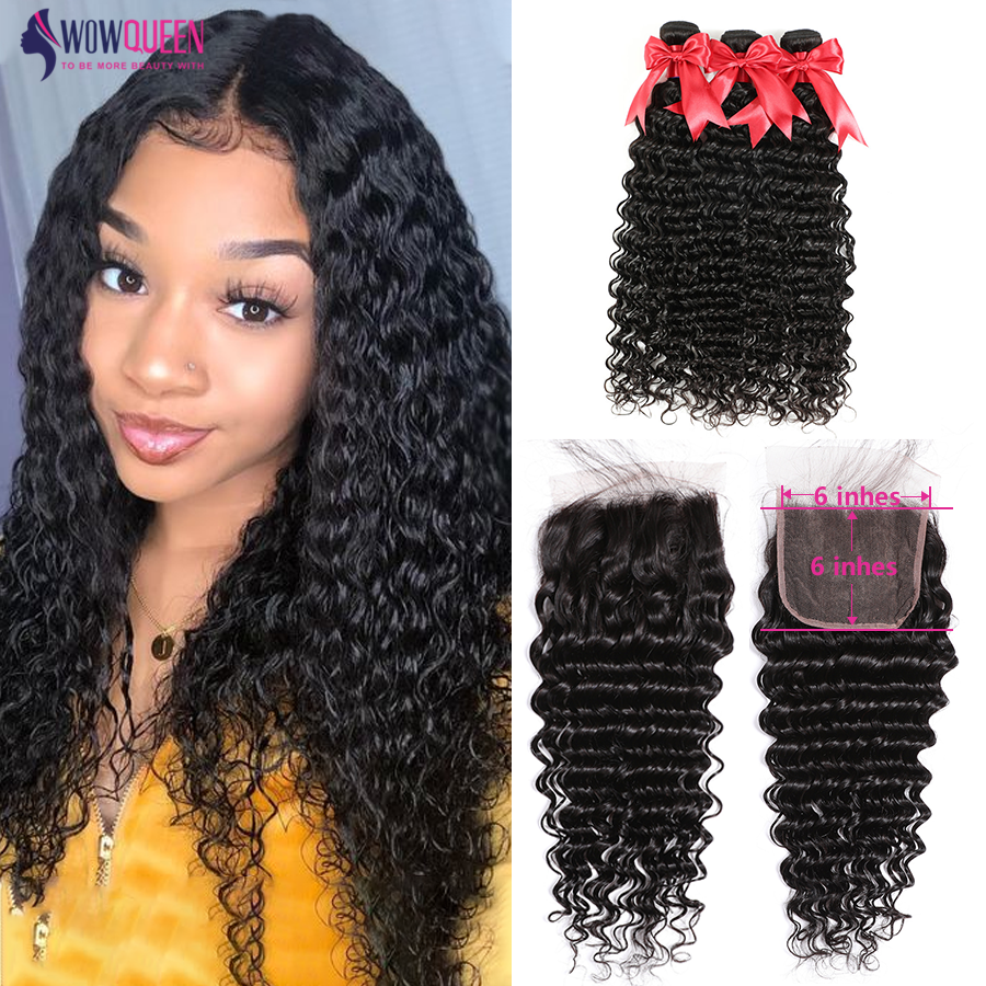 Deep Wave Bundles With Closure 6x6 Closure With 30 Inch Bundles WowQueen Brazilian Hair Remy Human Hair 5x5 Closure With Bundles
