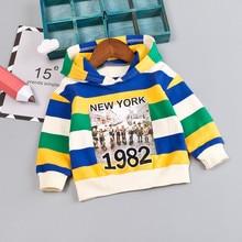 Пуловер в полоску с капюшоном и надписью для маленьких мальчиков; футболка; топы; одежда