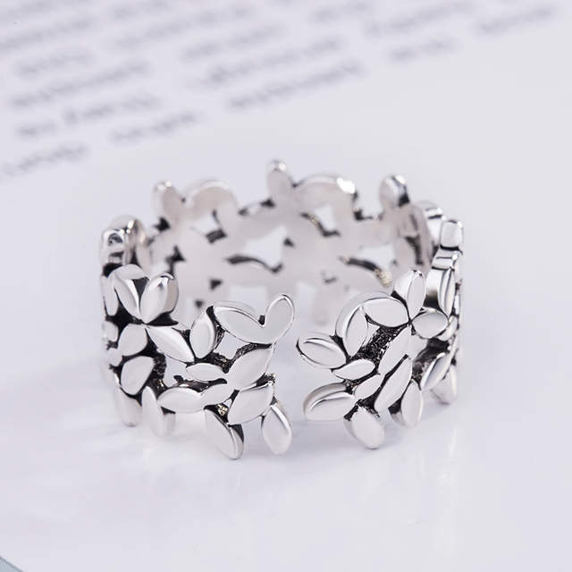 Bohemian Vintage 925 Sterling Silver Leaf Rings For Women Fashion Statement Jewelry Adjustable Finger Ring Girls Gifts