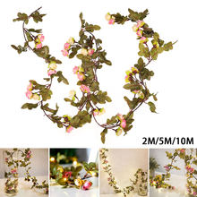 50 LED Rose Fairy String Lights Battery New Year Garland Curtain Lamp Holiday Decoration Home Bedroom Window 2-5M String Light