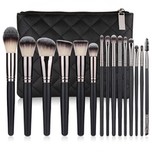 15Pcs Makeup Brushes With PU Bag Foundation Brush Powder Blush Foundation Eyeshadow Eyebrow Eye Brush Make Up Brushes pro goat hair makeup brushes 22pcs cosmetic kit eyebrow eyeshadow blush foundation fan powder make up brush set with pu case page 4