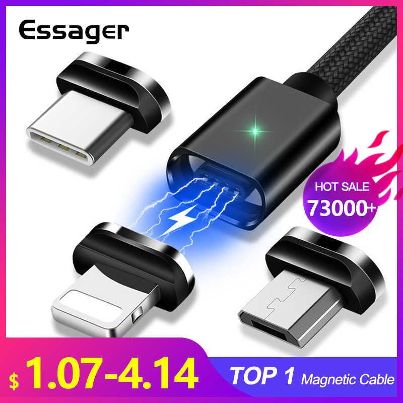 Essager สาย USB Micro USB สำหรับ iPhone Samsung Fast Charging ข้อมูลสายไฟแม่เหล็ก USB Type C 3m โทรศัพท์มือถือสาย