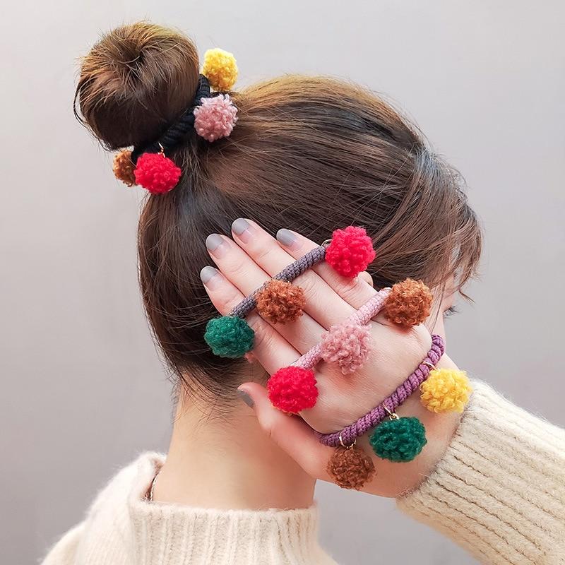 Multi Balls Hair Rope Women Girls Elastic Rubber Band Cute Hair Bands Korean Hair Ties Children Ponytail Holder Hair Accessories