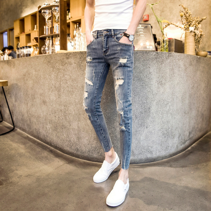 High Street Men Ripped Hole Jeans Fashion Light Blue Washed Slim Biker Denim Pencil Pants Casual Cowboy Ankle Length Pants Male